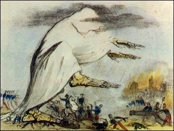 Dieses Bild aus dem 19. Jahrhundert sollte die Ausbreitung der Cholera durch schlechte Luft darstellen.